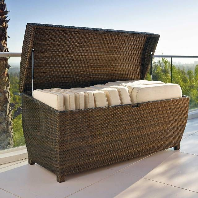 Our All-weather Wicker Storage Chest is both durable and functional. Use it to store outdoor furniture cushions, garden necessities, and more in high style. Oversized trunk features a curved top that allows moisture to run off Inner liner helps keep cushions or beach equipment dry and mildew-freeConstructed of all-weather, UV-resistant wicker in bronzeHandwoven over an aluminum framePneumatic hinges allow for smooth operationA Frontgate exclusiveNote: Not recommended for use with items that…