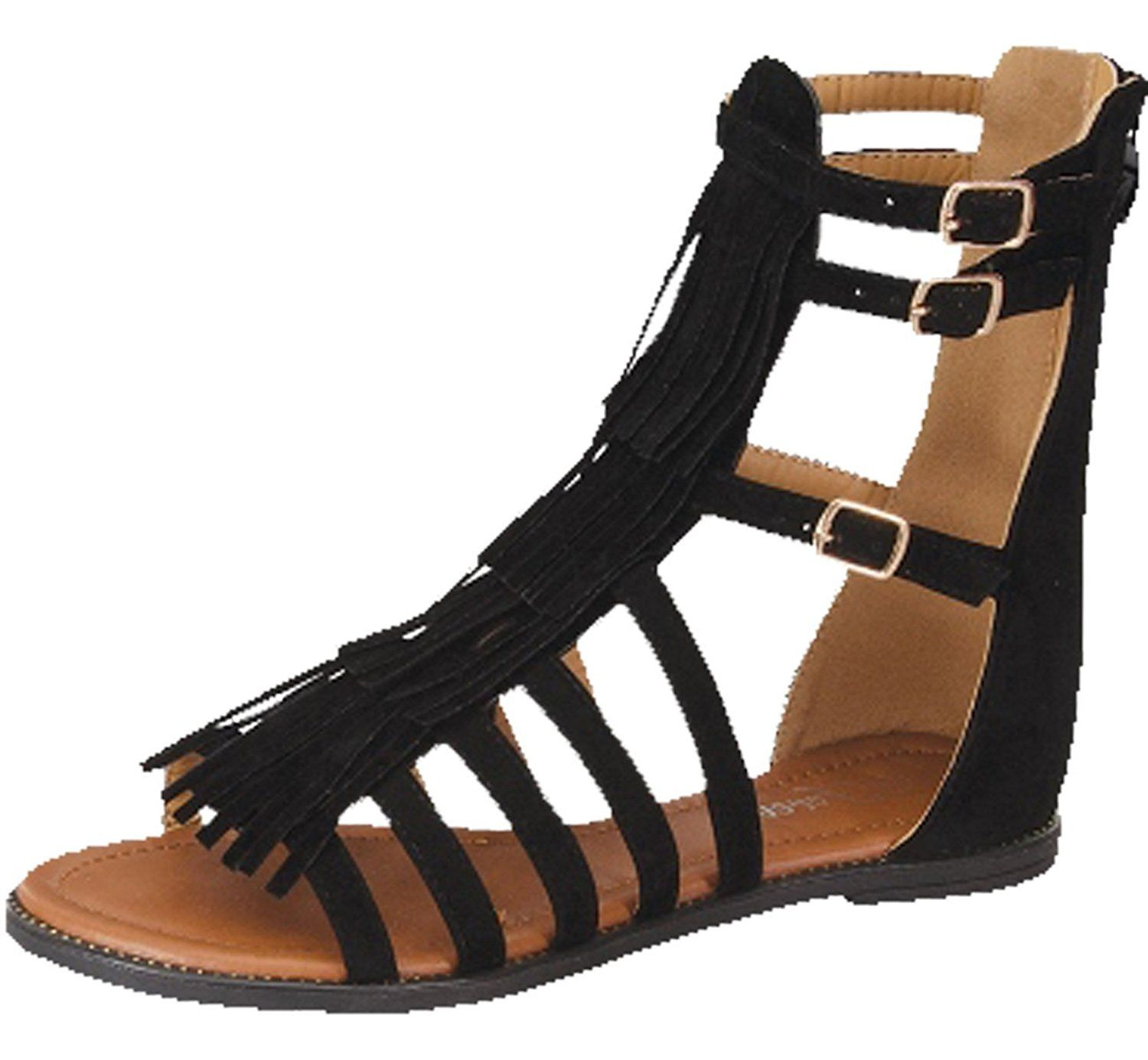 1434e6a9d18d Forever Link Women s Katia-51 Gladiator Fringe Tassel Flat Sandals --  Startling review available
