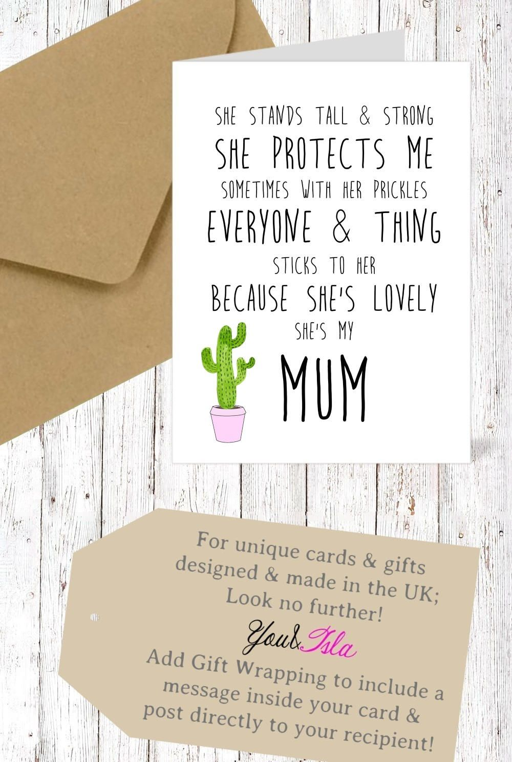 Cactus nanny cactus mum love you mothers day card mum card grandma