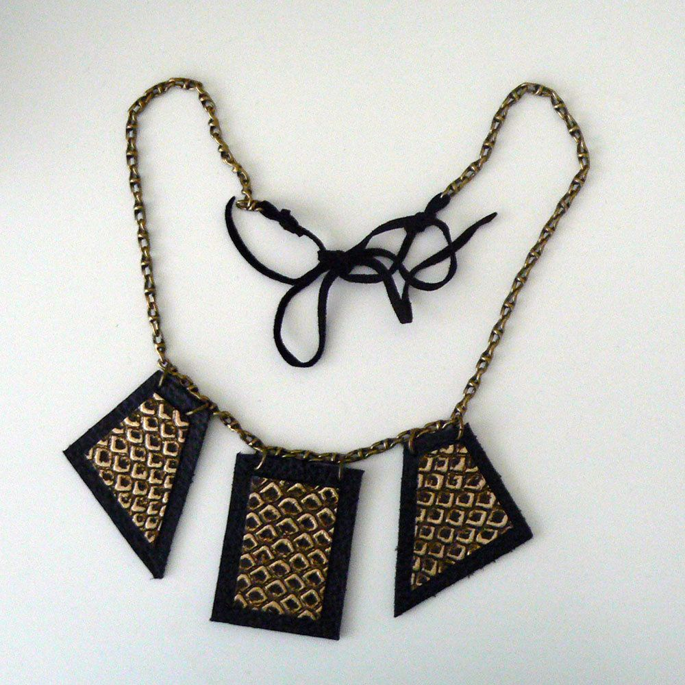 Black and Gold Leather Warrior Necklace.