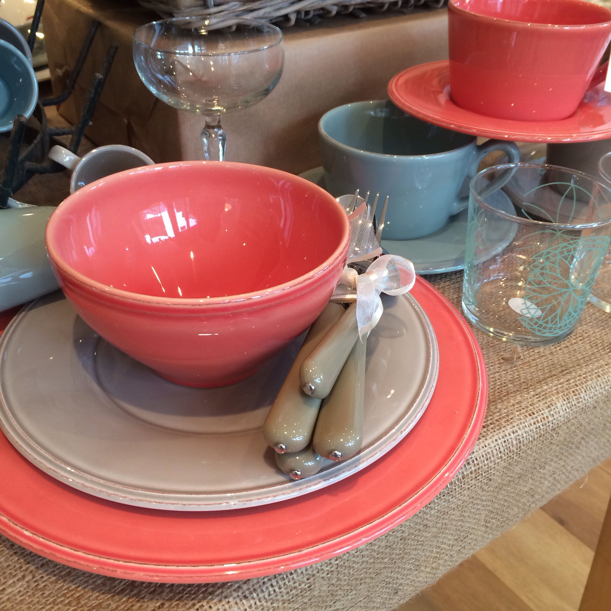 Coloured Tableware, Crockery, Dining Inspiration.  Nora's Ilkley, Yorkshire