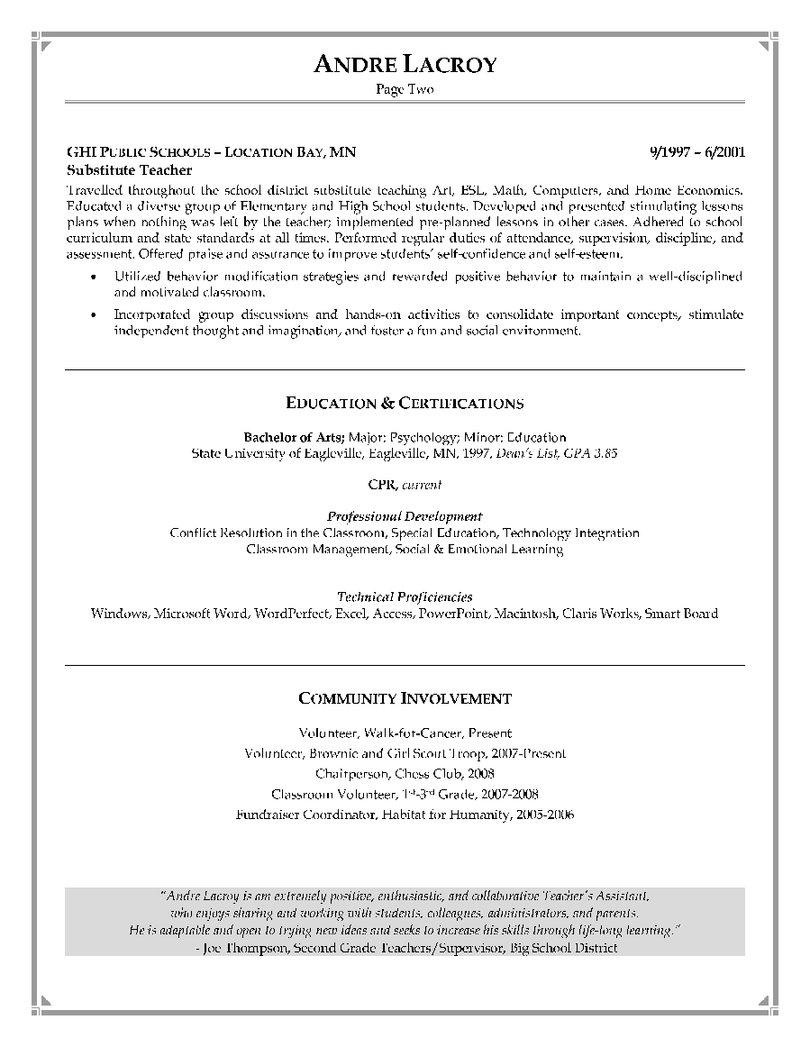 TeacherS Assistant Resume Sample  Page   Good Things