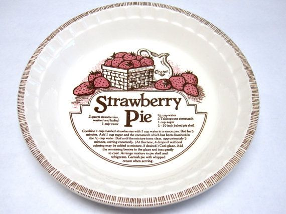Pie Pan Royal China Decorative Plate Strawberry By Sweetie2sweetie