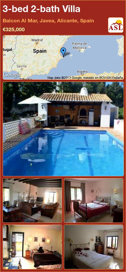 3-bed 2-bath Villa in Balcon Al Mar, Javea, Alicante, Spain ►€325,000 #PropertyForSaleInSpain