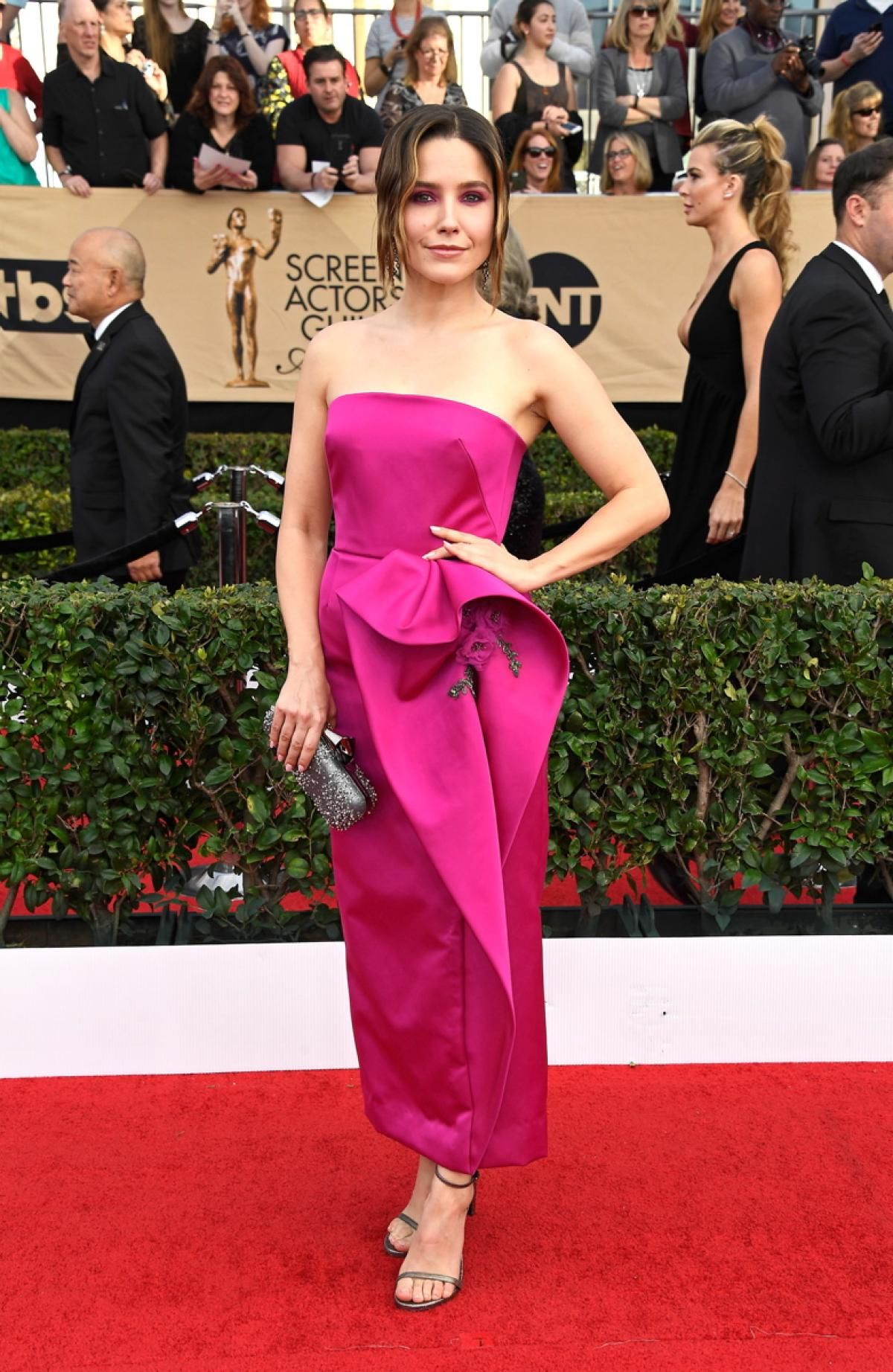 Actress Sophia Bush looked exquisite in a hot pink Marchesa dress with hot pink eyeshadow to match her look during the annual award show in Los Angles.