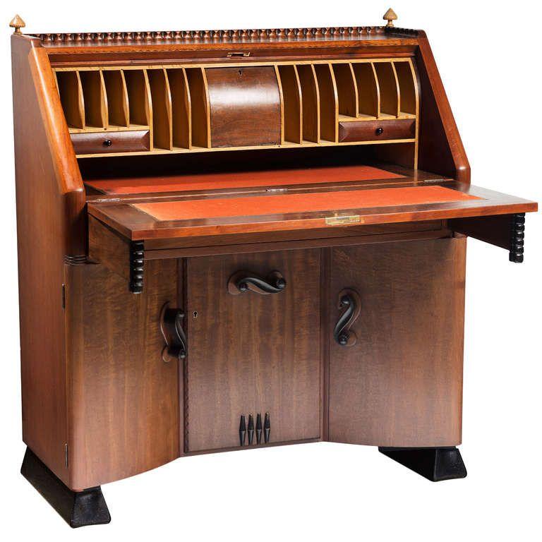 Stunning Art Deco secretaire desk by Michel de Klerk, Amsterdam School architect | From a unique collection of antique and modern secretaires at http://www.1stdibs.com/furniture/storage-case-pieces/secretaires/