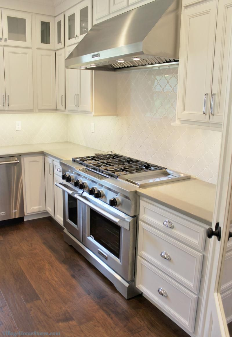 White Painted Kitchen In A Coal Valley Il With 48 Inch Kitchenaid Gas Range Home By Hazelwood Homes Villagehomes In 2020 Kitchen Hood Design Kitchen Cabinet Design