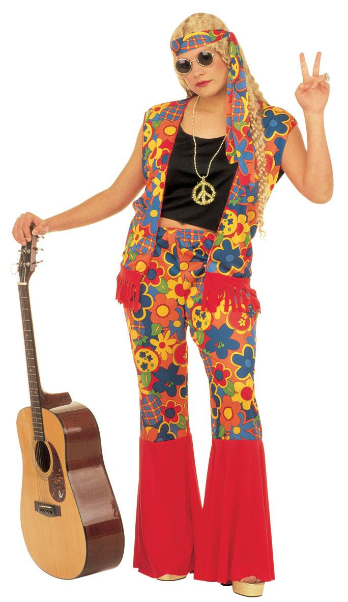 Deluxe Womens Hippie Hippy 60s 70s Fancy Dress Xl