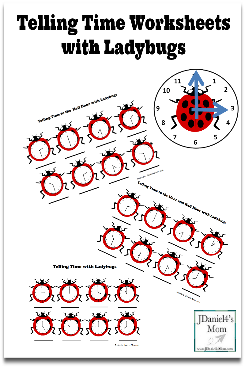 Telling Time Worksheets with Ladybugs- This set contains several ...