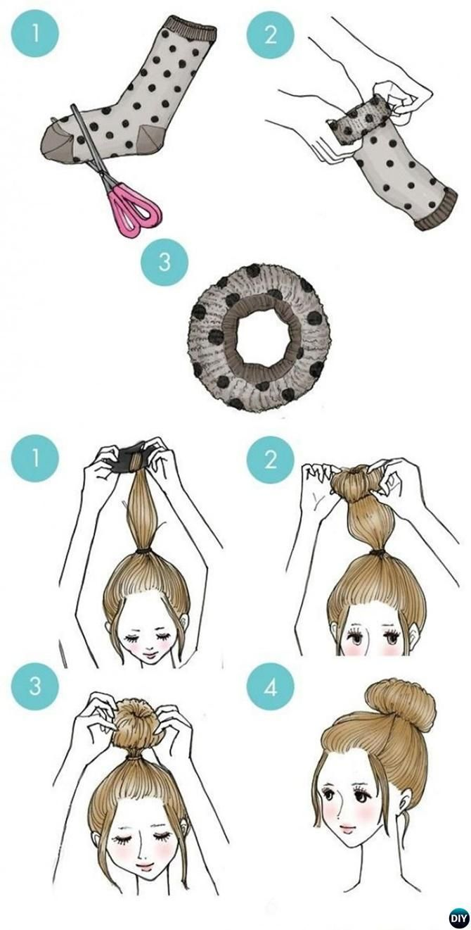 Sock bun hairstyle easy busy morning hairstyles for short mid
