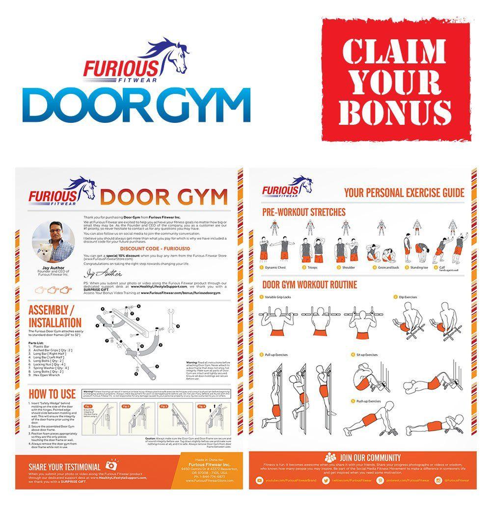 Furious Fitwear Door Pull Up Bar For Doorway Or Doorframe Pullup And