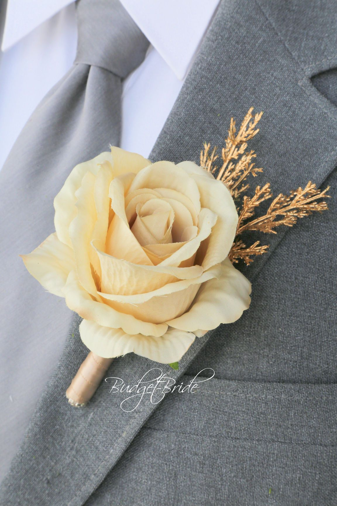 Mens Wedding Flowers In Gold With Champagne Rose And Gold Grass Prom Corsage And Boutonniere Gold Corsage Prom Red Wedding Flowers