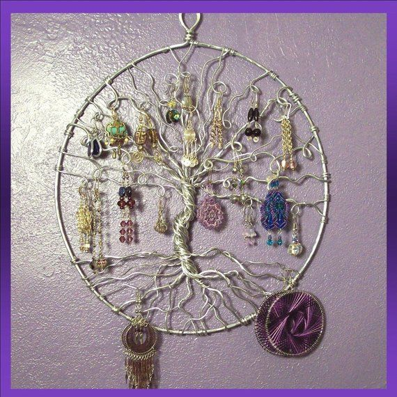 Jewelry Holder Earring Tree Of Life Wall Hanging Display D