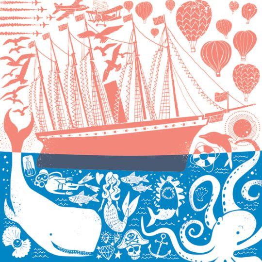"""Zweifarbige Illustration in Rot und Blau mit Wal, Segelboot, Heißluftballons und vielem """"Meer"""" ;)"""