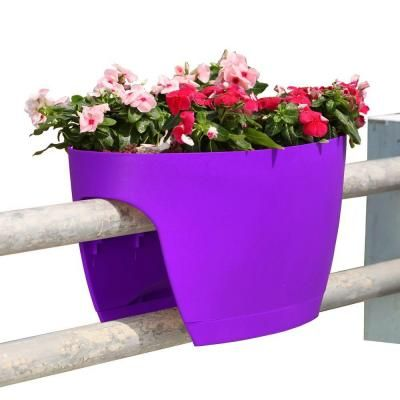 Greenbo Xl Deck Rail Planter Box With Drainage Trays 24 In Color Purple Set Of 2 Gxl02 Pv The Home Depot Deck Railing Planters Deck Planters Balcony Planters
