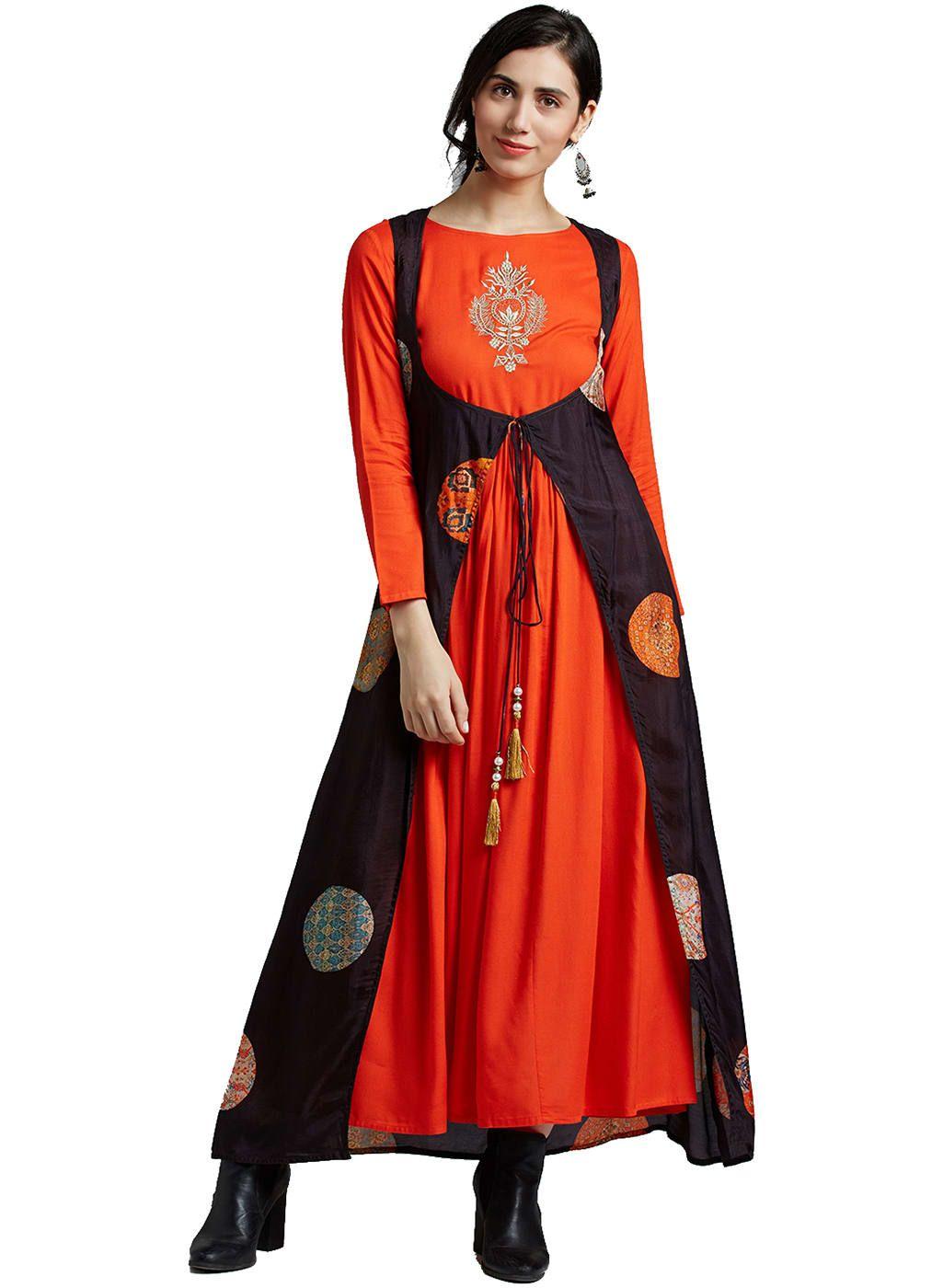 Jaipur Kurti Orange Rayon Dress With Black Silk Shrug Only On Ravishing Wooplr Com Best Dresses Online Shrug For Dresses Womens Skirt Rayon Dress [ 1400 x 1025 Pixel ]