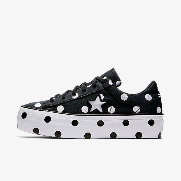 7cf13df2cb6 Converse One Star Polka Dot Platform Low Top Women s Shoe