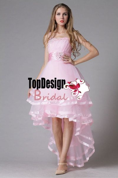2015 New Style Hot Sell Fashionable Lovely Hi-Low Tulle Pink Prom Dress