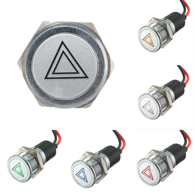 14mm LED Dash Panel Warning Light Indicator Lamp Red Blue Green Amber   Y