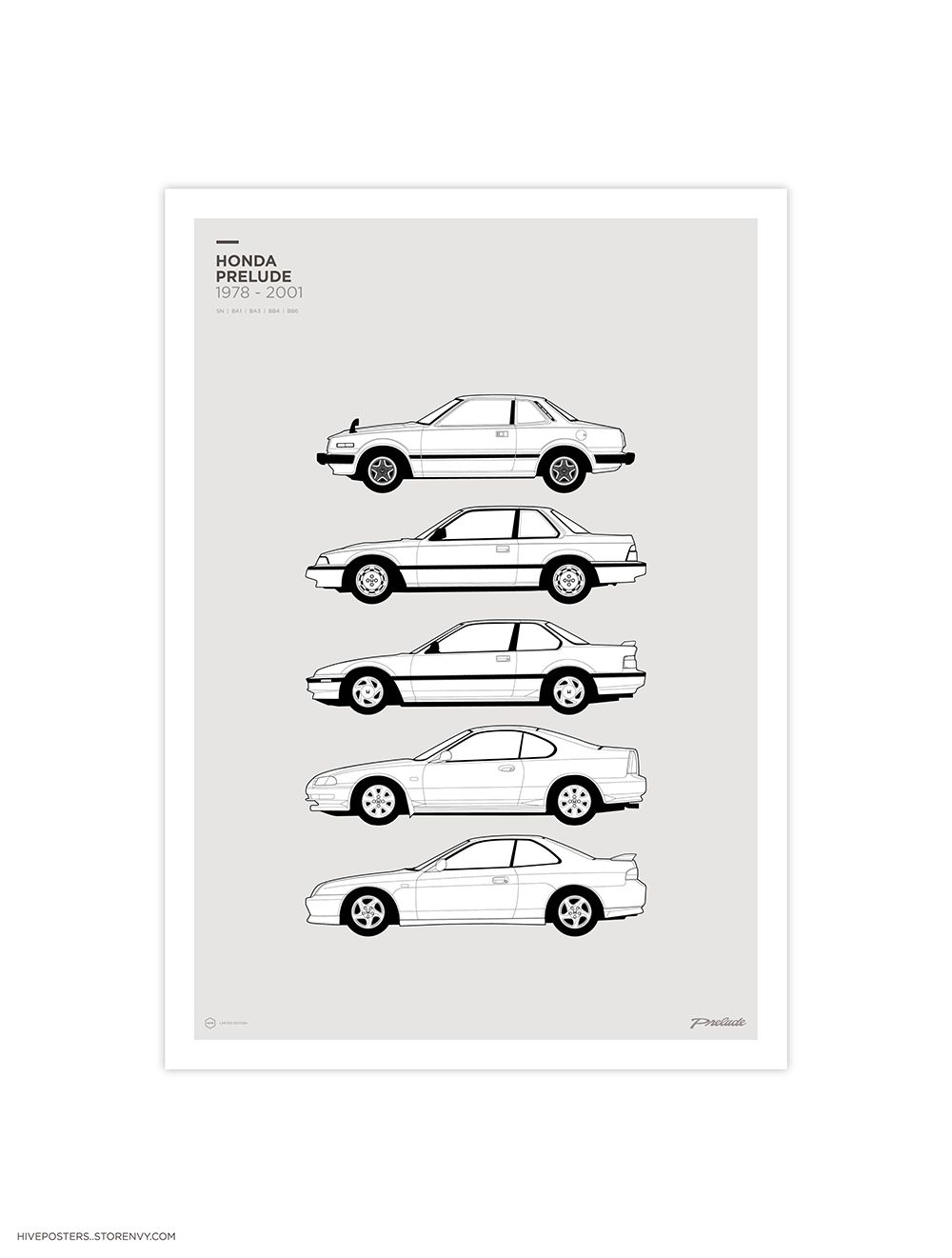 02b0c50cf1 Honda Prelude Generations Poster from Hive Posters | lude poster ...