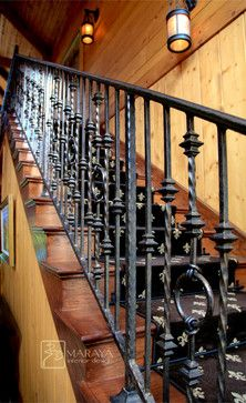 Ranch Mountain Wrought Iron Railing Rustic Staircase Santa