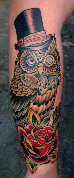 Owl With Top Hat Google Search Old School Tattoo Tattoos Best Sleeve Tattoos