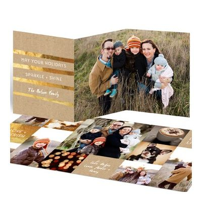 pear tree christmas cards are designed to stand out from the rest personalize the golden greeting trifold christmas cards with your choice of text color - Tri Fold Christmas Cards