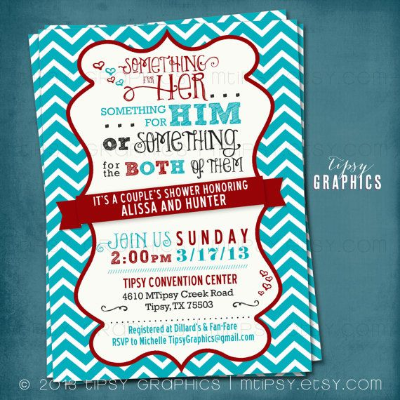 Something For Him Her Or The Both Of Them Chevron Co Ed Wedding Shower Invite By Tipsy Graphics Any Colors On Etsy 16 00
