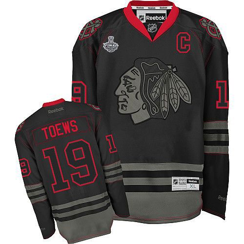 Chicago Blackhawks #19 Jonathan Toews Black Ice Jersey