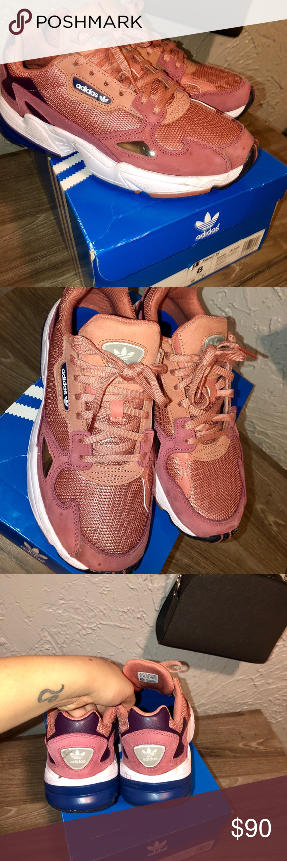 Adidas falcon salmon pink sneakers