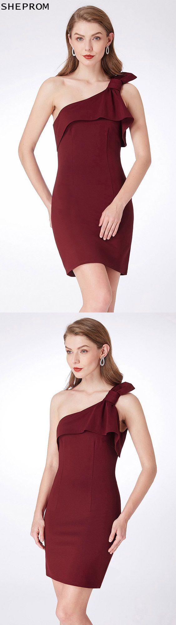 Burgundy one shoulder short simple dress for prom epbd