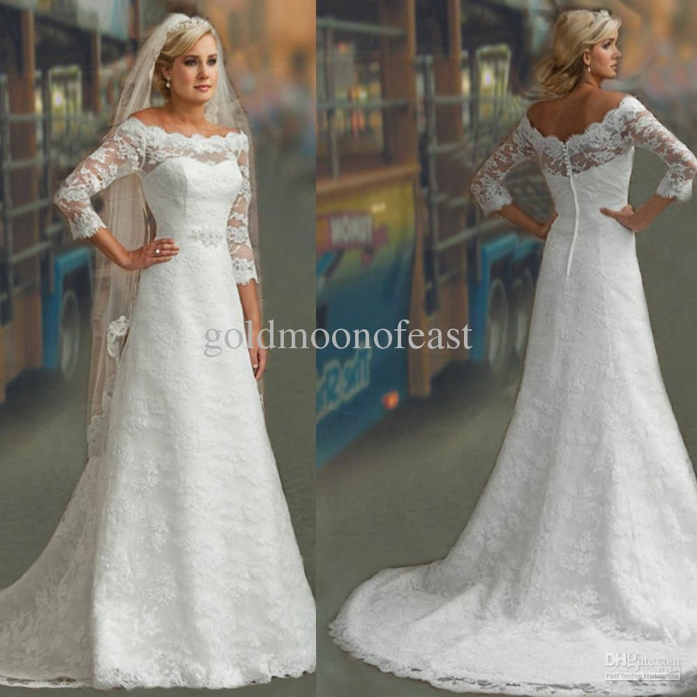 Modest 3 4 long sleeves white lace a line bridal gown for Modest wedding dresses with long sleeves