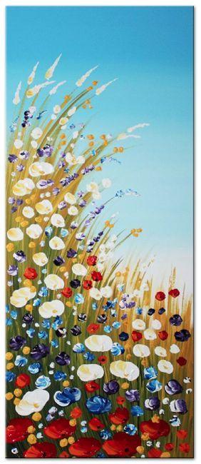 Acryl schilderij 'Summertime' van Ines - Kunstvoorjou.nl #schilderij #ines #veldbloemen