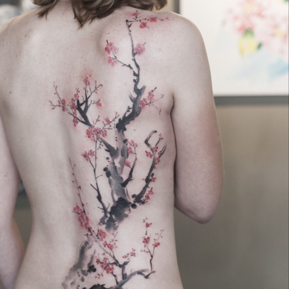 9f70ac987 graffittoo | oriental painting style plum blossom :) #watercolor  #watercolortattoo #flowertattoo #orientalpainting #plumblossom | Tattoodo