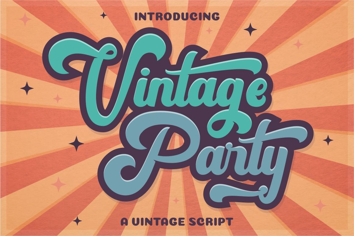 Download Vintage Party Bold Retro Script Today We Have A Huge Range Of Script Font Products Available Com Vintage Typography Retro Typography Vintage Fonts