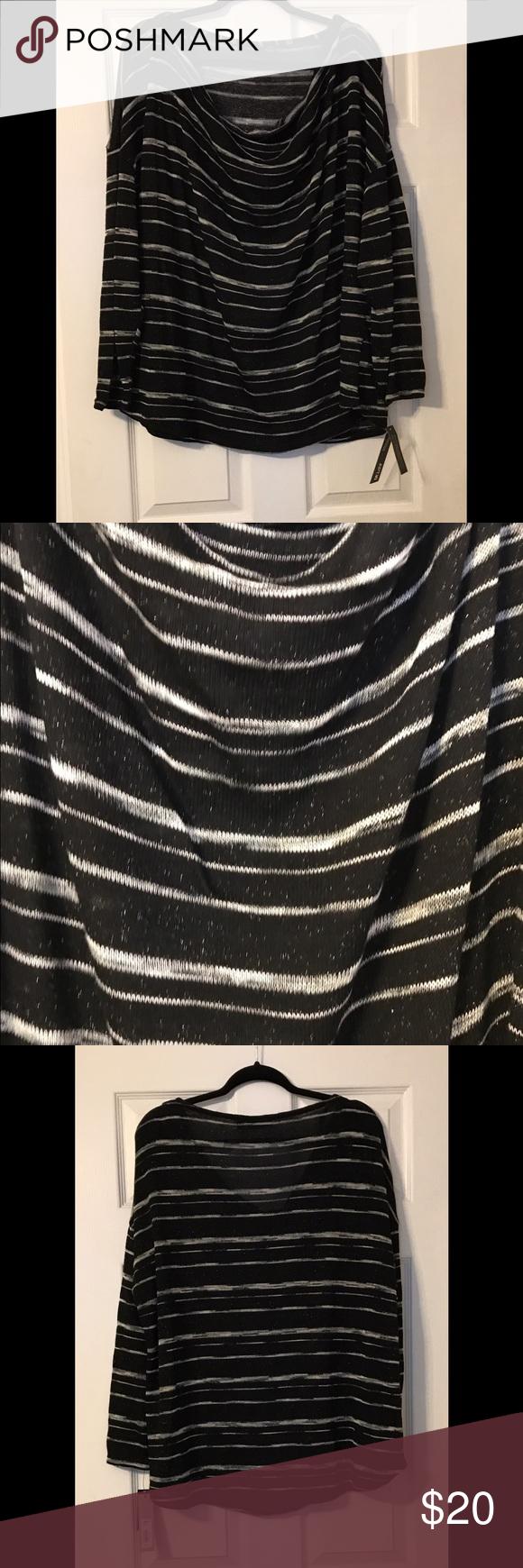 NWT black and white striped sweater - cowl neck NWT Apt 9 black and white striped sweater - cowl neck-size 2X Apt. 9 Sweaters Cowl & Turtlenecks