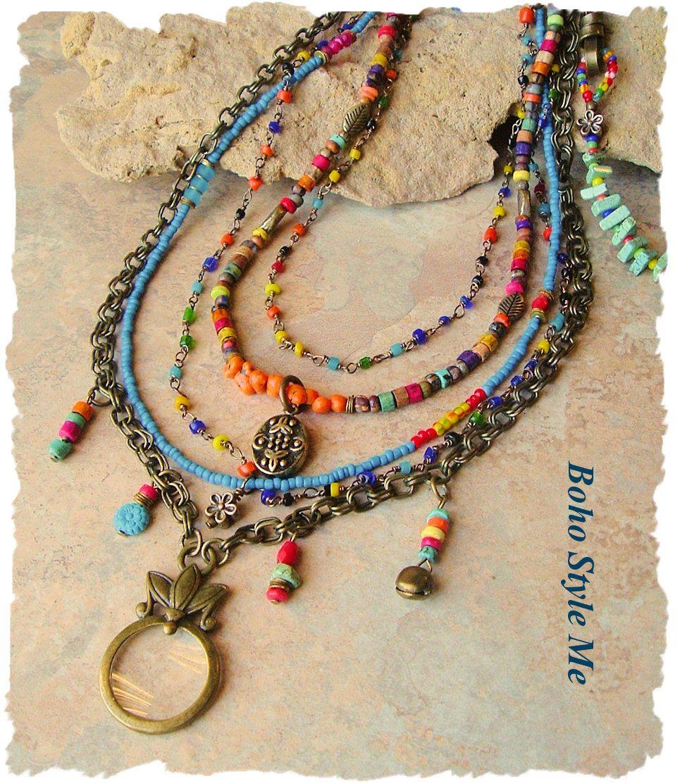 Bohemian Jewelry, Colorful Layered Beaded Necklace, Modern Hippie, Urban Gypsy, Boho Chic, Boho Style Me, Kaye Kraus by BohoStyleMe on Etsy