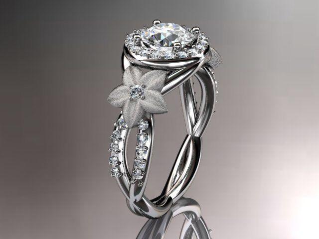 platinum diamond leaf and vine wedding ringengagement ringwedding