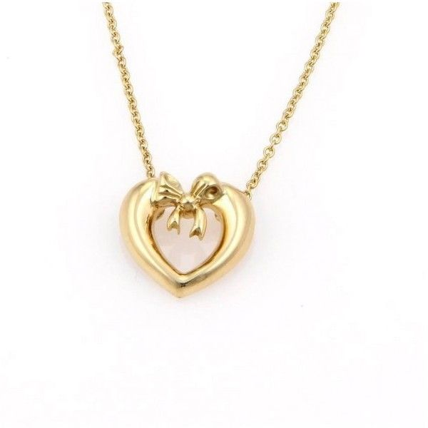 f2c357fdc Pre-owned Tiffany & Co. 18K Yellow Gold Bow Tie Heart Pendant Necklace  ($875) ❤ liked on Polyvore featuring jewelry, necklaces, heart shaped  pendant ...