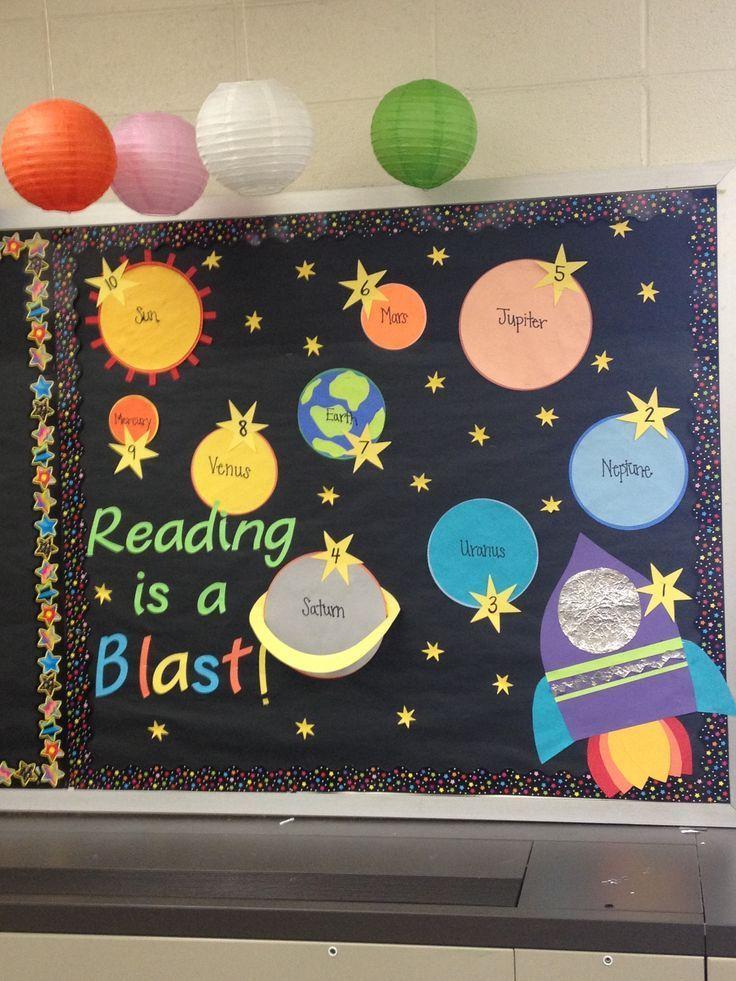 Space Themed Bulletin Board For AR Goals! Each Student