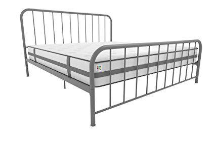 Novogratz Bellamy King Metal Bed With Adjustable Height Grey