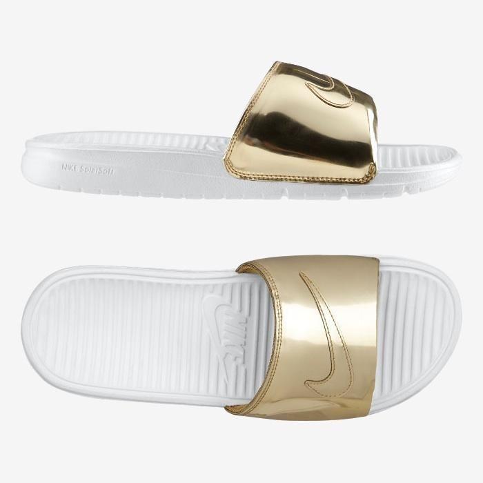 ba9ab485be4 Nike Benassi Solarsoft Slide  Liquid Metal  Gold  Nike  Slides
