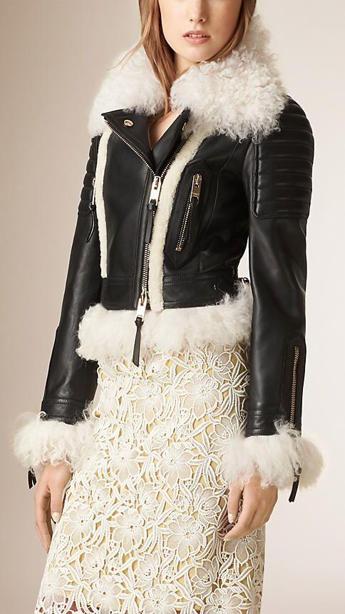 c50ca74c172b Black Shearling Trim Lambskin Biker Jacket - Burberry Prorsum ...