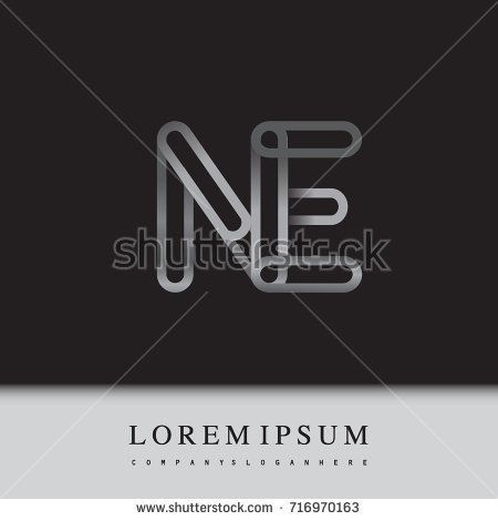 initial logo letter NE, linked outline silver colored, rounded logotype