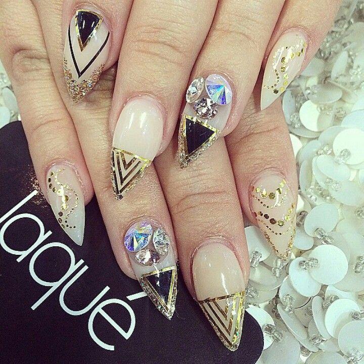Laque Nail Bar Almond Shape Acrylic Nails W Gold Foil Rhinestones