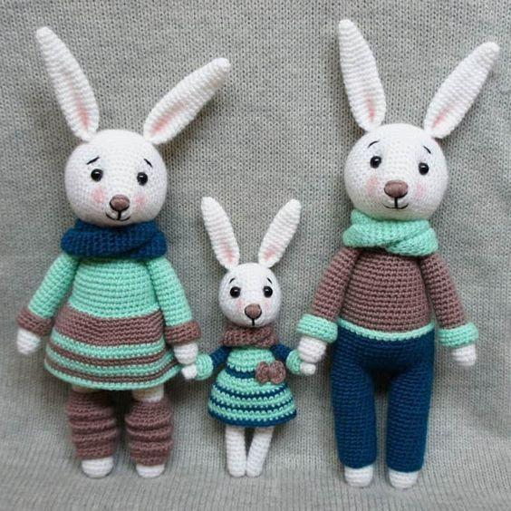 Hasenfamilie häkeln Spielzeug - kostenlose Amigurumi Muster | Tiere ...