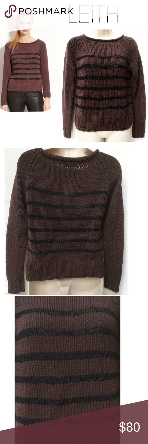 Nordstrom Leith Leather Stripe Sweater LEiTH Cotton Sweater Leather Braided Stripes Leather yarn forms stripes on nautically inspired sweater with edgy worn in feel, finished with wide ribbed trim at cuffs & rolled-edge boat neck Size: S Excellent Condition - Purchased From Nordstrom  💐20% OFF BUNDLES 👉🏼LOWBALL OFFERS WILL BE IGNORED 👆🏼Please use offer button to submit offer  👉🏼 view OFFER CHART for reference  👉🏼Sale/Reduced/Lowered items at lowest~bundle only for add'l disc…