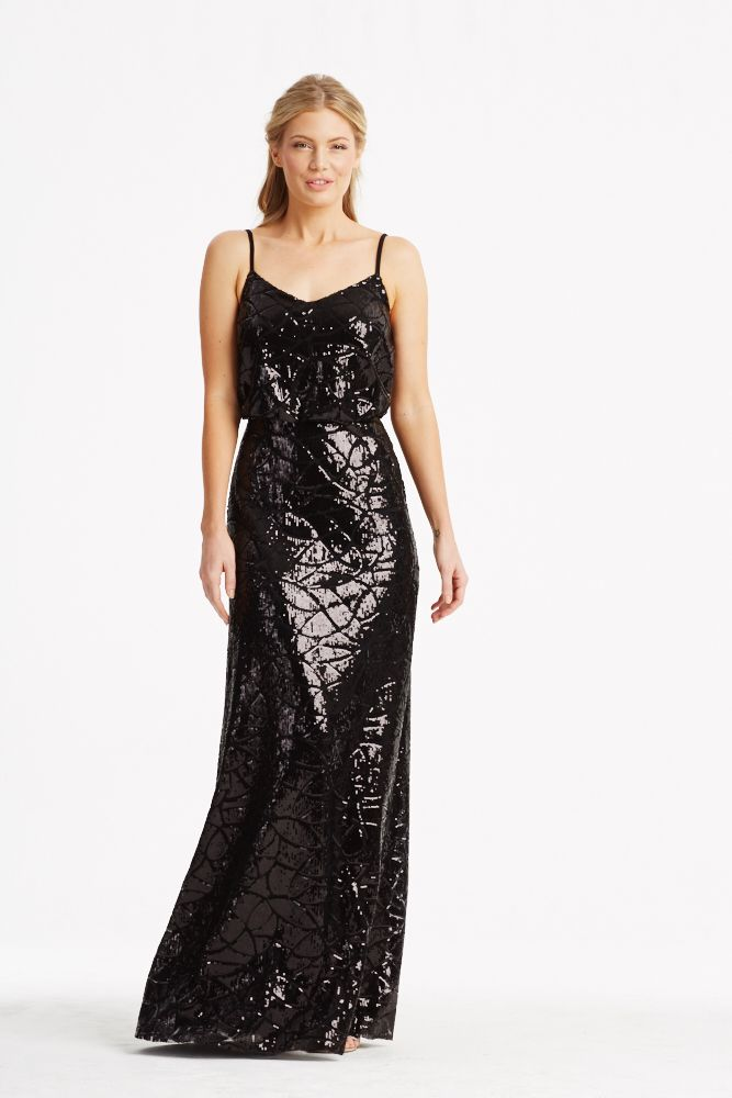 Donna Morgan Collection Sequin Gown Black Bridesmaids Dresses Olivia In