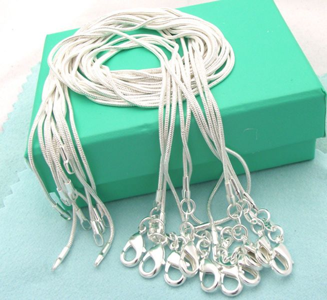 5pcs Fashion Jewelry Silver Plated Ball Chain Necklace Chain 16 inches 1mm
