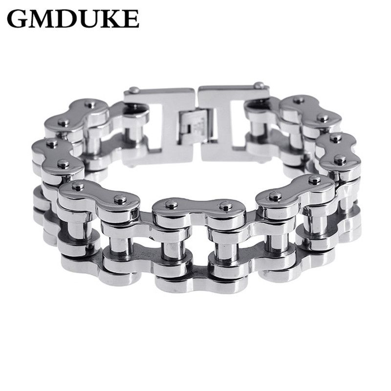 Gmduke Stainless Steel Motorcycle Chain Bracelet Men Simple Buckle Male Bracelets Bangles Biker Punk Jewelry